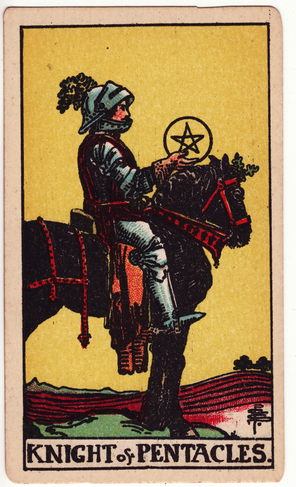 Knight of Pentacles, by Pamela Colman Smith