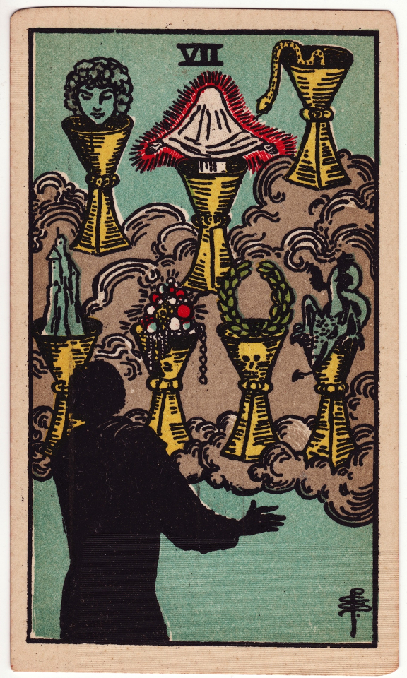 Seven of Cups, by Pamela Colman Smith